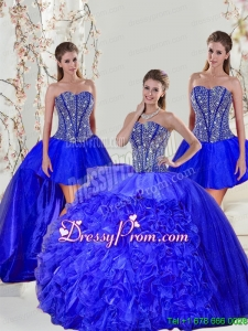 Detachable and Modern Beading and Ruffles Sweet 16 Dresses in Royal Blue for 2015