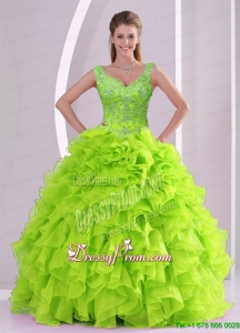 Modern Beading and Ruffles Quince Dresses in Green