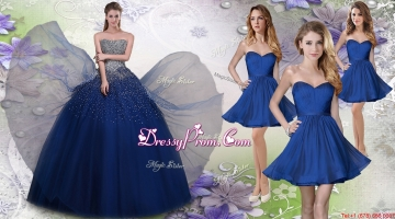 Pretty Navy Blue Really Puffy Quinceanera Dress and Fashionable Short Dama Dresses