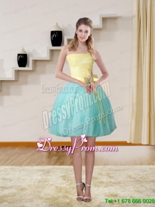2015 High Low Strapless Multi Color Prom Gown with Bowknot