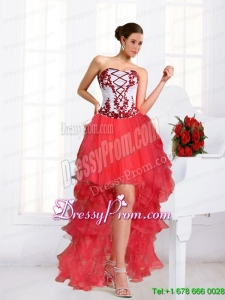 2015 Beautiful Coral Red Prom Dresses with Embroidery and Beaded