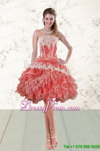 2015 Elegant Ruffled Strapless Prom Dresses in Watermelon