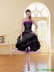 2015 Multi Color A Line Ruffled Strapless Knee length Prom Dress with Beading
