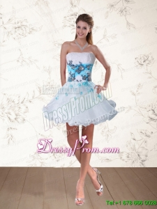 2015 Strapless Multi Color Prom Dress with Embroidery and Beading