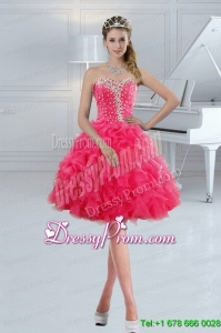 Sweetheart 2015 Cute Prom Dresses with Ruffles and Beading