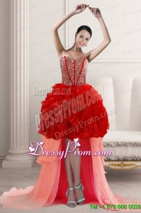 2015 Beautiful Cheap High Low Prom Dresses with Beading and Ruffles