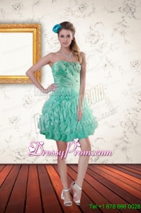 2015 Popular Cheap Apple Green Prom Dresses with Appliques and Ruffles