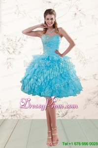 2015 Fashionable Baby Blue Short Prom Dresses with Ruffles and Beading