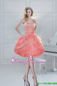 2015 Pretty Puffy Sweetheart Watermelon Short Prom Dresses with Beading