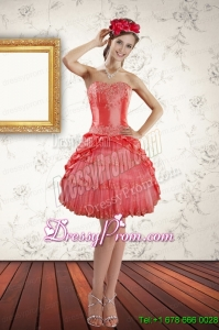 2015 Strapless Coral Red Short Prom Dresses with Ruffled Layers