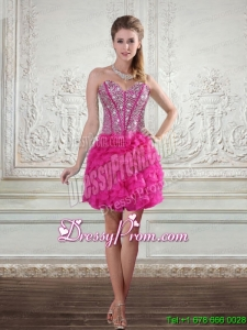 2015 Sweetheart Hot Pink Short Prom Dresses with Beading and Ruffled Layers