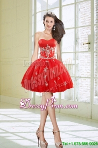 Hot Sale Ball Gown Sweetheart Appliques Red Short Prom Dresses for 2015