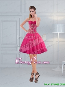 Perfect Sweetheart Hot Pink Short Prom Dresses with Embroidery and Beading