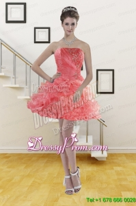 Ruffled Watermelon Red Strapless 2015 Short Prom Dresses with Beading