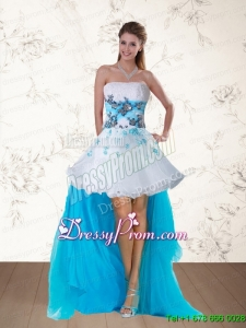 2015 Pretty Multi Color Strapless Christmas Party Dress with Embroidery and Beading