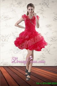 Beaded Sweetheart Red 2015 Christmas Party Dress with Ruffled Layers