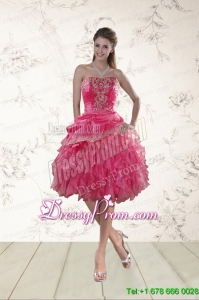 Coral Red Strapless Christmas Party Dress with Beading and Ruffles