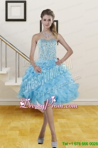 2014 High End Sweetheart Knee Length Prom Gowns with Beading