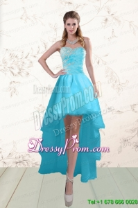 High End Baby Blue Prom Gown with Beading and Ruffles