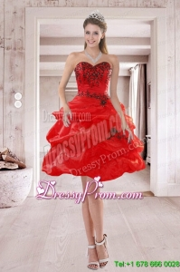 High End Sweetheart Red 2015 Prom Dresses with Embroidery and Ruffles