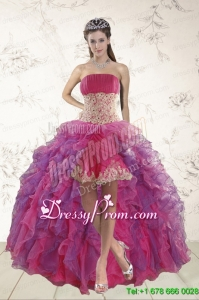 2015 Classical High Low Designer Prom Dresses with Appliques and Ruffles