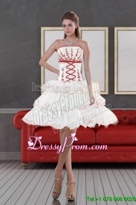 2015 Designer Strapless Prom Dresses with Embroidery and Ruffle layers