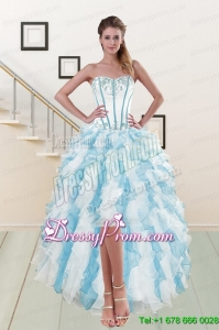 2015 Most Popular Sweetheart Prom Dresses with Appliques and Ruffles
