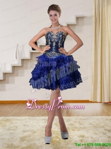 2015 Navy Blue Sweetheart Designer Prom Dresses with Beading and Embroidery