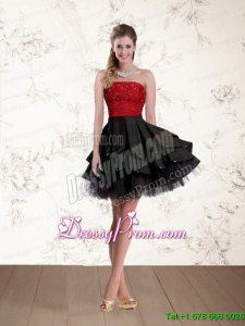 2015 New Style Strapless Designer Prom Dresses in Red and Black with Beading