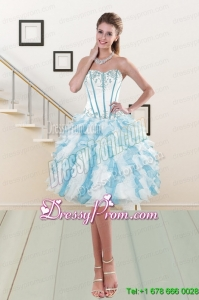 2015 Romantic Strapless Designer Prom Dresses with Embroidery and Ruching
