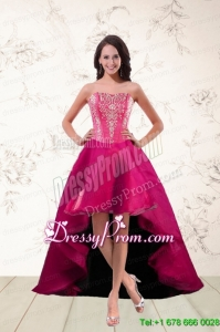 2015 Strapless High Low Prom Dresses with Appliques