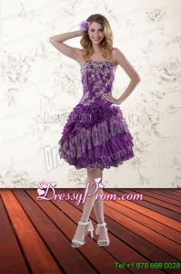 Designer Strapless 2015 Prom Dresses with Appliques and Ruffles