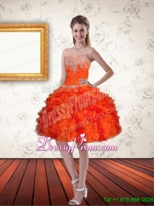 Gorgeous Sweetheart Orange Designer Prom Dresses with Ruffles and Beading