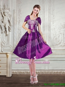 Purple Strapless Embroidery and Beaded Designer Prom Dresses with Cap Sleeves