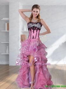 2015 Zebra Printed Strapless High low Rose Pink Maxi Prom Dresses with Embroidery