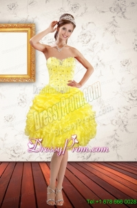 Beautiful Sweetheart Beaded and Ruffled Yellow Prom Dresses for 2015 Spring