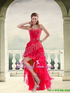 Coral Red Ball Gown Strapless Maxi Prom Dresses with Ruffles and Beading