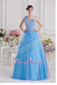 2014 A-line One Shoulder Tulle Blue Quinceanera Dress with Appliques Hand Made Flower