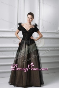 2014 New A-line Appliques V-neck Tulle Black Prom Dress