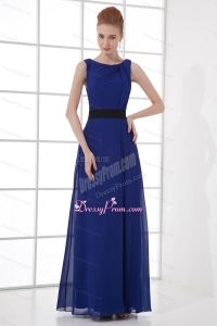 Peacock Blue Empire Bateau Floor-length Backless Prom Dress