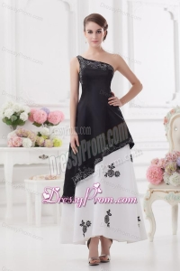 A-line One Shoulder Embroidery Black and White Ankle-length Prom Dress