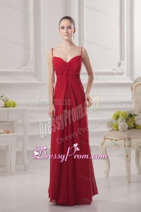 Empire Spagetti Straps Floor-length Ruching Wine Red Prom Dress