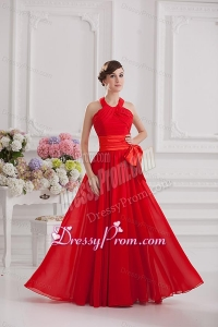 Ruching and Bowknot Halter Top Empire Prom Dress in Red