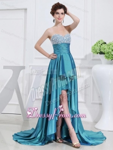 Sweetheart High-low Beading and Applique Taffeta Teal Prom Dress