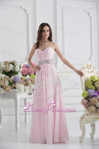 Baby Pink Sweetheart Empire Prom Dress with Ruching and Beading