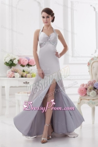 Column Halter top High Slit Beading Prom Dress in Light Grey