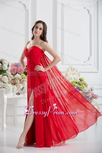 Sweetheart Empire Ruching Chiffon Prom Dress in Red