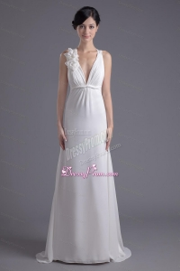 Column White Chiffon V-neck Prom Dress with Hand Made Flowers