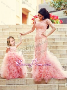 2016 Exclusive Column Long Sleeves Latest Prom Dress with Brush Train and Affordable Ruffled and Laced Little Girl Dress in Watermelon Red