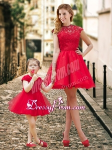 2016 Feminine High Neck Backless Prom Dress in Red and Beautiful Mini Length Little Girl Dress with Cap Sleeves